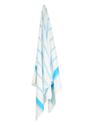 Ivory-Sky Blue Candy Stripe Cotton Towel
