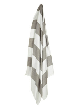 Ivory-Grey Bold Stripe Cotton Towel