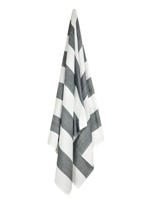Ivory-Charcoal Bold Stripe Cotton Towel