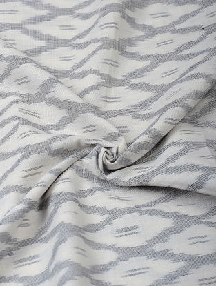 Ivory-Grey Handloom Ikat Cotton Fabric