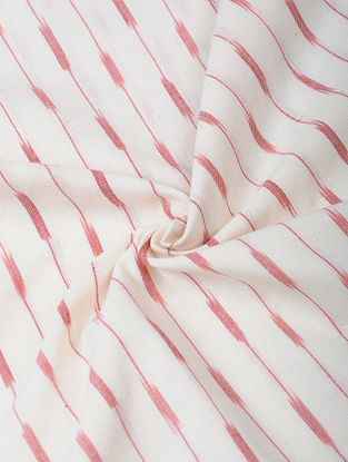 Ivory-Pink Handloom Ikat Cotton Fabric