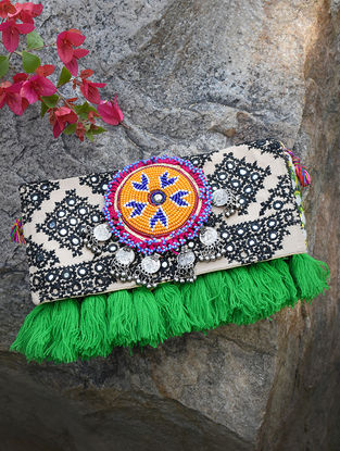 Black-White Hand-Embroidered Rabari Sling Bag with Tassels