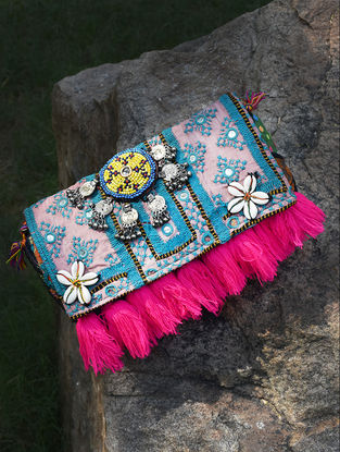 Blue-Peach Hand-Embroidered Rabari Sling Bag with Tassels