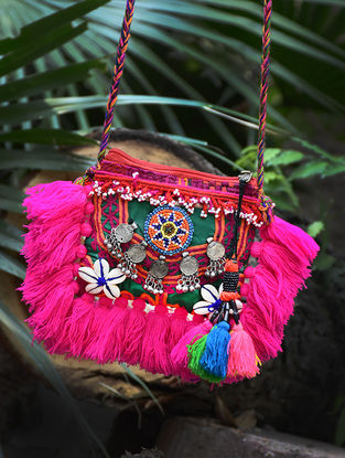 Pink Hand-Embroidered Rabari Sling Bag with Tassels