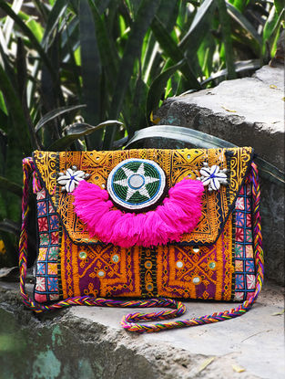 Multicolored Hand-Embroidered Rabari Sling Bag