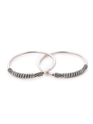 Tribal Silver Bangles (Bangle Size -2/4) (Set of 2)