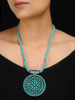 Turquoise Silver Thread Necklace