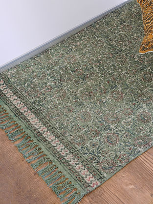 Green Jawta-printed Cotton Rug