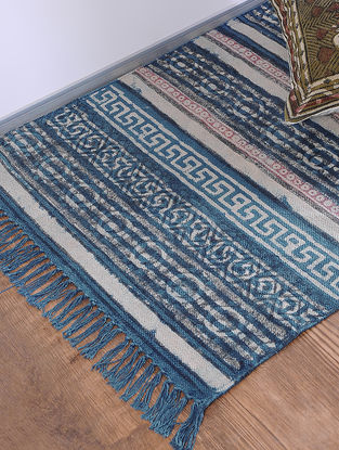Blue-Black Jawta-printed Cotton Rug