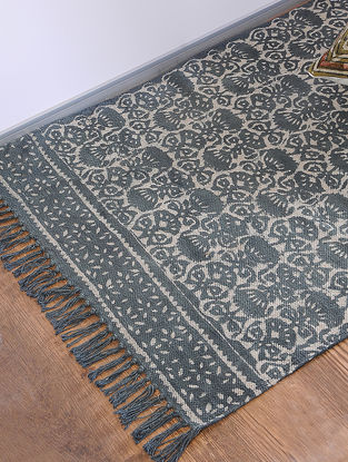 Grey Jawta-printed Cotton Rug