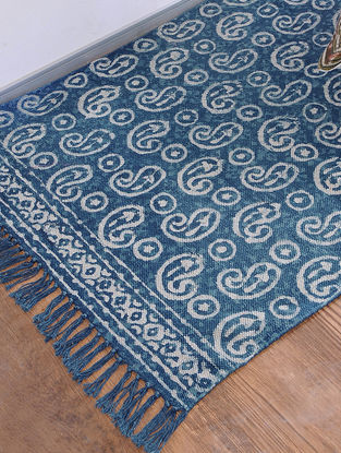 Blue Jawta-printed Cotton Rug