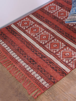Red Jawta-printed Cotton Rug