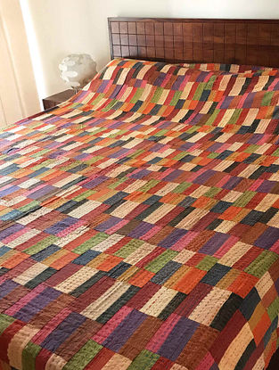 Jacques Tuscan Multicolored Kantha-Embroidered Cotton Double Bed Cover with Patch Work