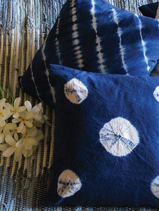 Ellen Indigo-White Shibori Hand-printed Cotton Cushion Cover (Set of 4) (16in x 16in)