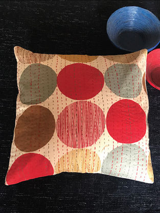 Ethen Multicolored Kantha-Embroidered Cotton Cushion Cover (Set of 4) (16in x 16in)