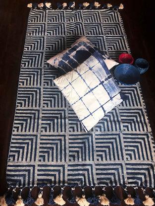 Courtney Indigo-White Hand Woven Cotton Rug (5ft x 3ft)