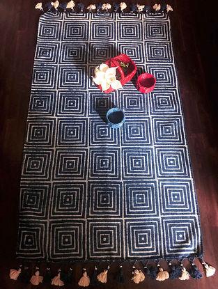 Collette Indigo-White Hand Woven Cotton Rug (5ft x 3ft)