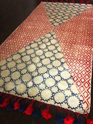 Czarina Red-Indigo Hand Woven Block-printed Cotton Rug