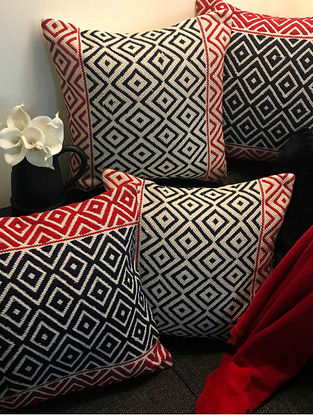 Eaton Jacquard Weave Red-Black Cotton Cushion Covers (Set of 4) (18in x 18in)