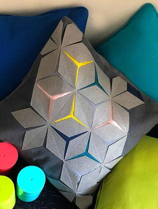 Eldiva Origami Grey-Applique Cushion Cover (18in x 18in)