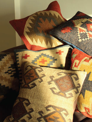 Evert Kilim Multicolored Hand Woven Cushion Covers (Set of 4) (18in x 18in)
