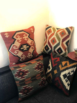 Enkizer Kilim Multicolored Hand Woven Cushion Covers (Set of 4) (18in x 18in)