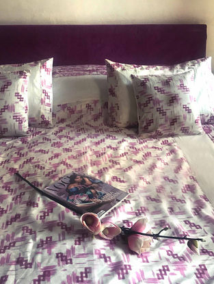 Oliana Violet Block-printed Dupion Silk Double Bed Cover with Pillow Covers (Set of 3)