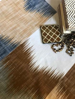 Marko Beige-Blue Printed Cotton Double Dohar (90in x 108in)