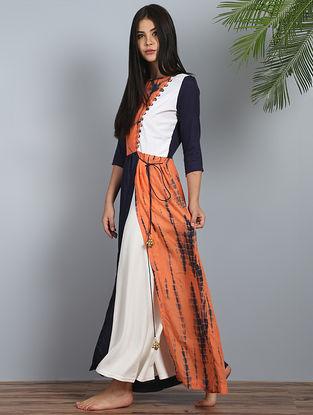 Navy-Orange Shibori Cotton-Modal Silk Dress