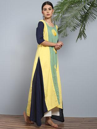 Yellow-Navy Shibori Cotton-Modal Silk Kurta