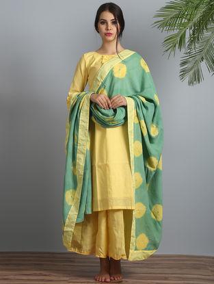 Yellow-Green Shibori Cotton-Modal Silk Kurta Palazzo and Dupatta (Set of 3)