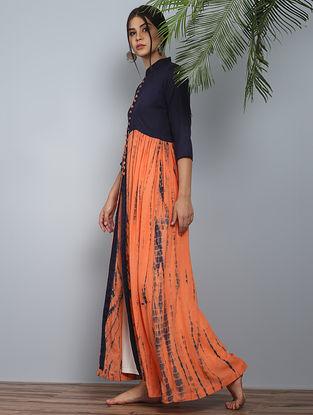 Orange-Navy Shibori Modal Silk Slit Dress