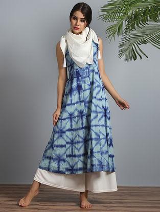 Indigo-White Shibori Modal Silk Kurta Palazzo and Dupatta (Set of 3)