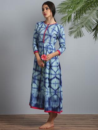 Indigo-Pink Shibori Cotton-Modal Silk Dress