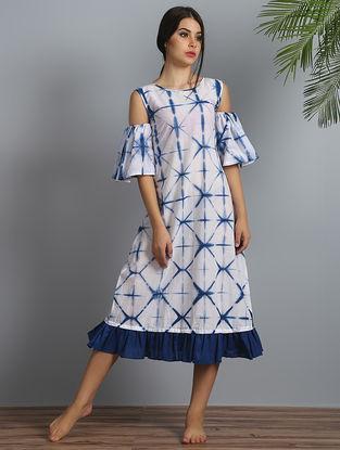 White-Navy Shibori Cotton-Modal Silk Cold-shoulder Dress