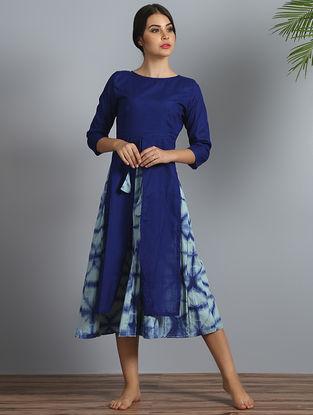 Indigo Shibori Cotton-Modal Silk Layered Dress with Slip (Set of 2)