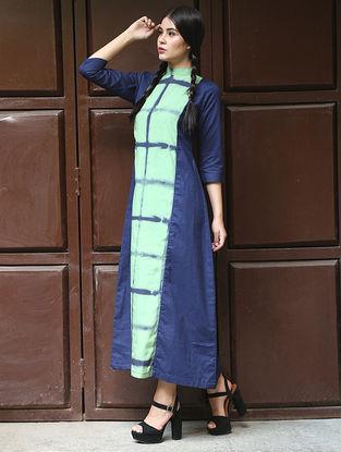 Navy-Green Shibori Cotton-Modal Silk Dress