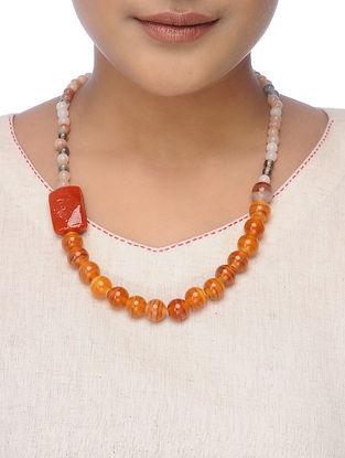 Orange Glass Beaded Necklace