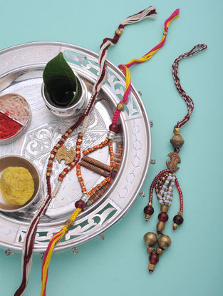 Multicolored Handcrafted Brass Rakhi and Lumba (Set of 3)
