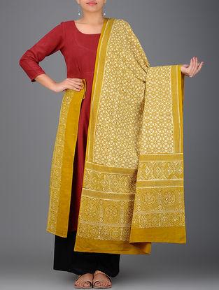 Mustard-Ivory Ajrakh-printed Cotton Dupatta