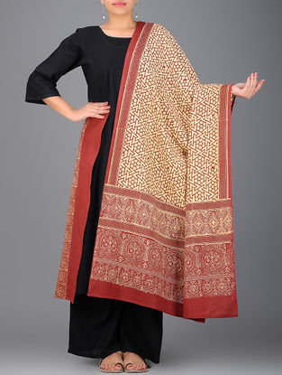 Red-Yellow Ajrakh-printed Cotton Dupatta