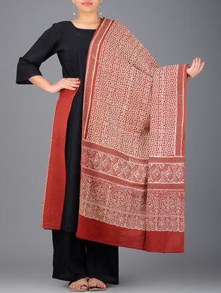 Red-Ivory Ajrakh-printed Cotton Dupatta