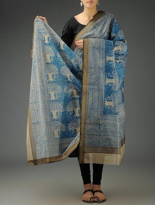 Beige-Blue Tiger Maheshwari Printed Dupatta