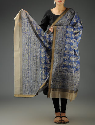 Beige-Blue Abstract Maheshwari Printed Dupatta