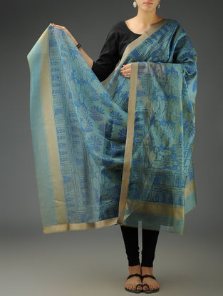 Steel Blue Abstract Maheshwari Printed Dupatta