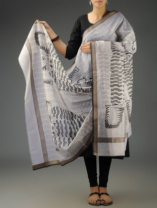 White-Black Tiger Maheshwari Printed Dupatta