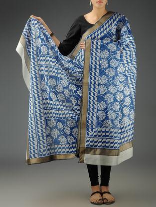 Blue-White Floral Maheshwari Printed Dupatta