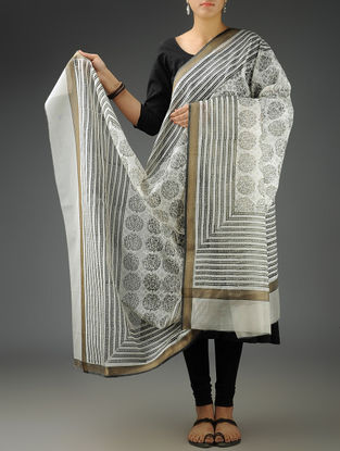 White-Black Tree Maheshwari Printed Dupatta