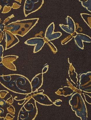 Brown-Blue Ajrakh-printed Cotton Fabric