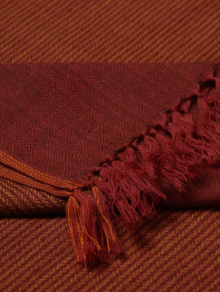 Maroon-Orange Wool Shawl